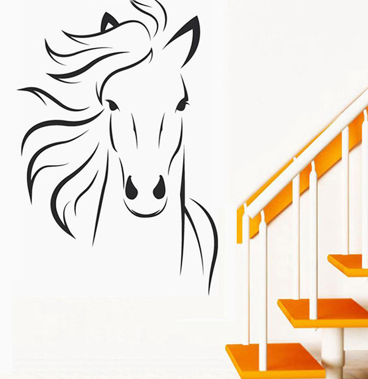 decals design 'horse sketch' wall stickers