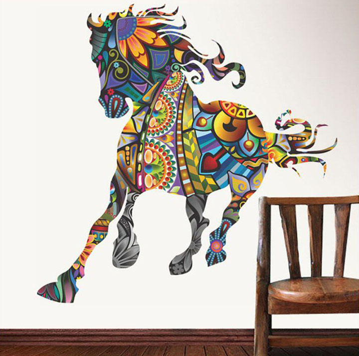 decals design 'running horse with art' wall stickers