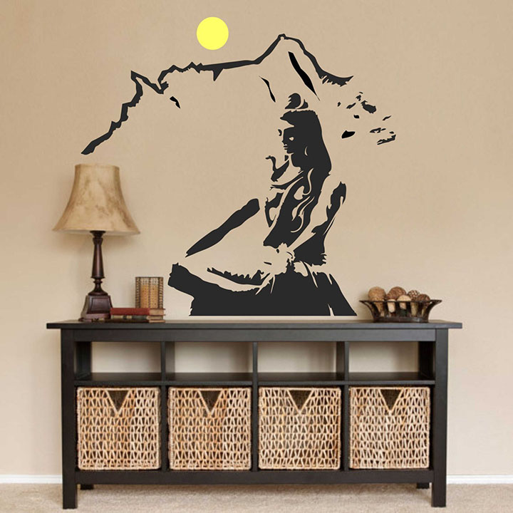 Decals Design Wall Sticker 'Lord Shiva Meditating On Kailash Mountain'