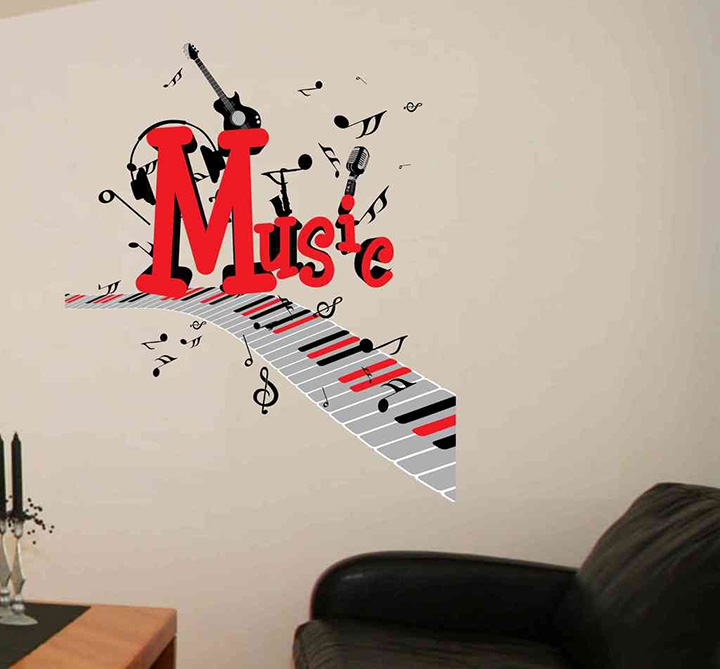 Decals Design 'World of Music with Musical Notes and Guitar' Wall Sticker