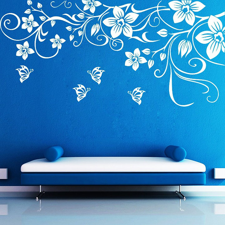 Decor Kafe Decal Style Butterfly Floral Wall Sticker Wall Poster