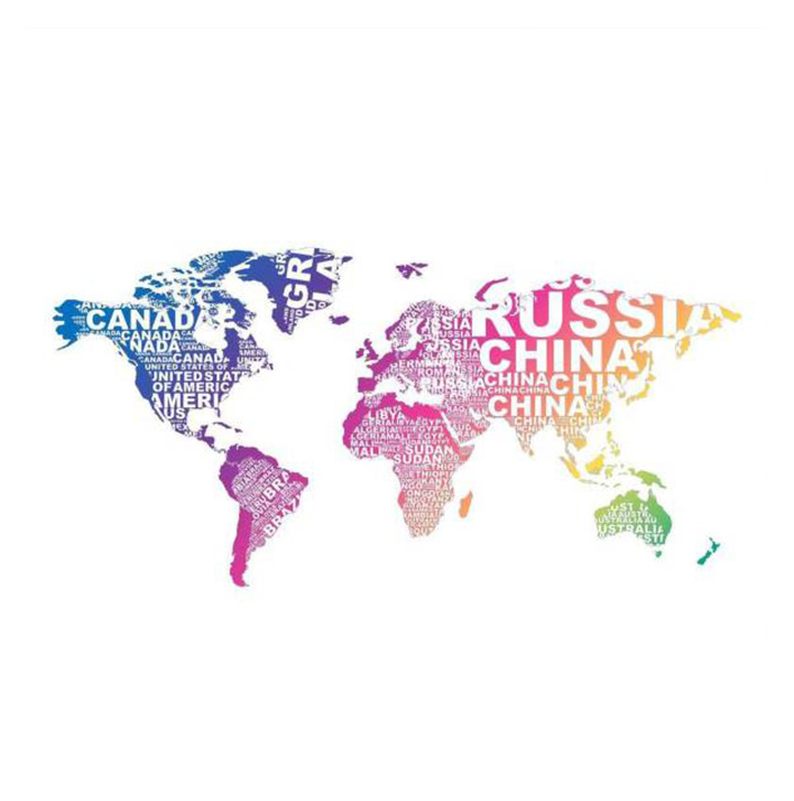 designed world map wall stickers