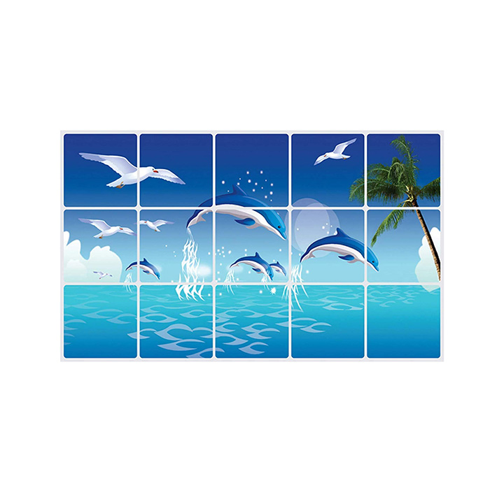Dolphin Wall Sticker for Kitchen, Oil Proof Heat-Resistant Waterproof Stickers