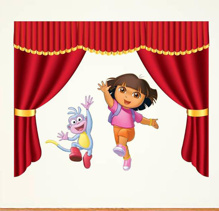 Dora with Monkey and Curtain Wall Sticker