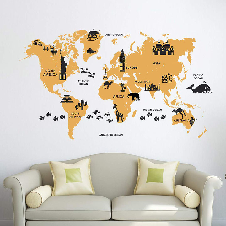 extra large world map wall sticker