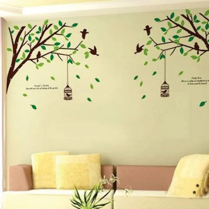 falling leaves birds and cage' wall sticker