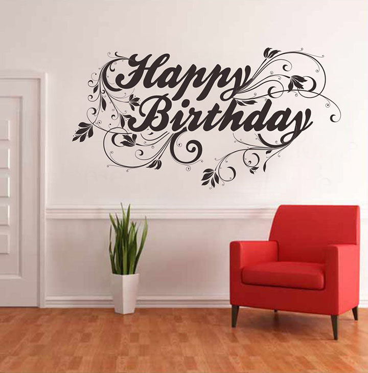 happy birthday wall sticker with floral pattern