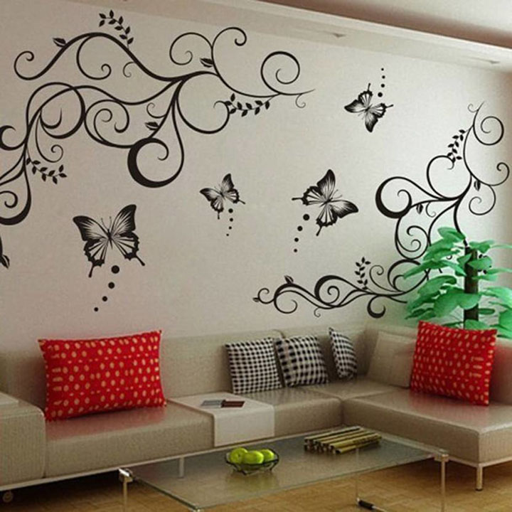 lovely butterflies with floral design wall sticker