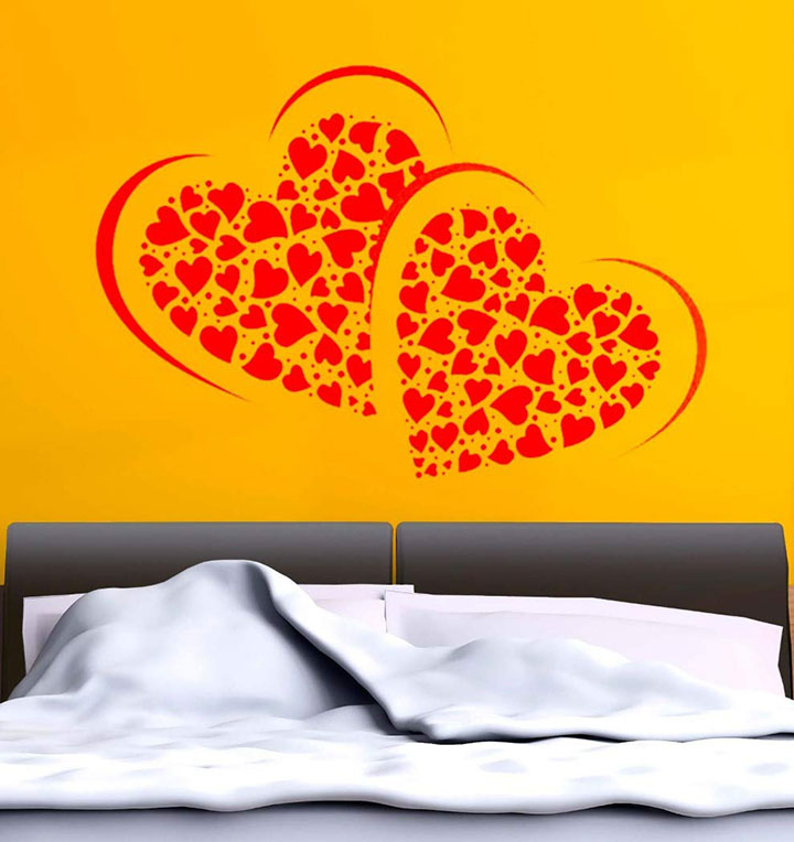 many hearts wall sticker for a yellow wall