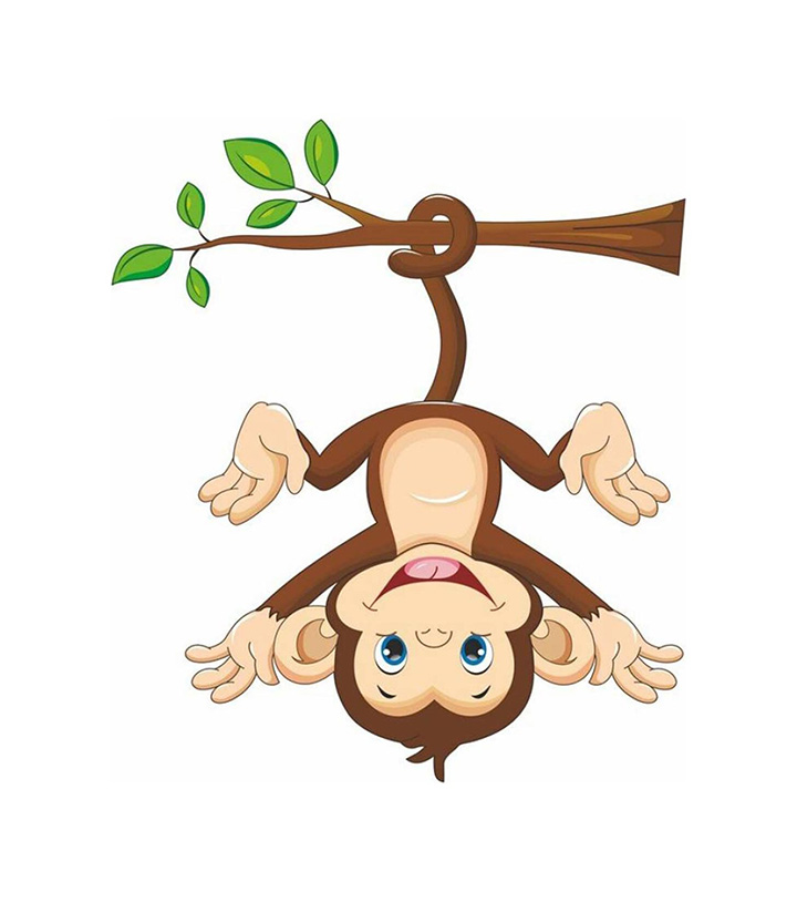 monkey hanging below the branch with tail' wall sticker