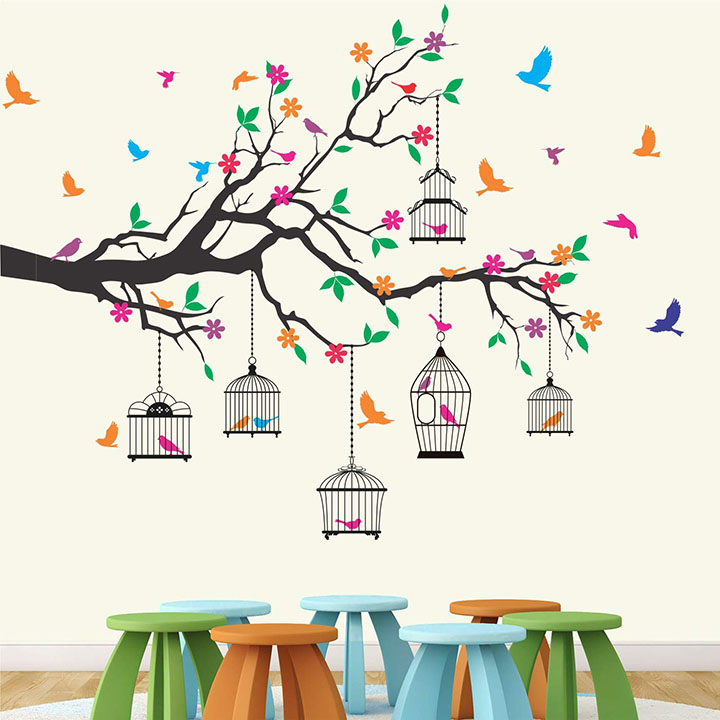 nature tree - colorful - birds - cage - wall sticker