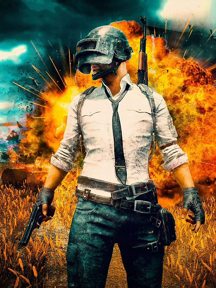 pubg player on fire battlegrounds gaming wall stickers