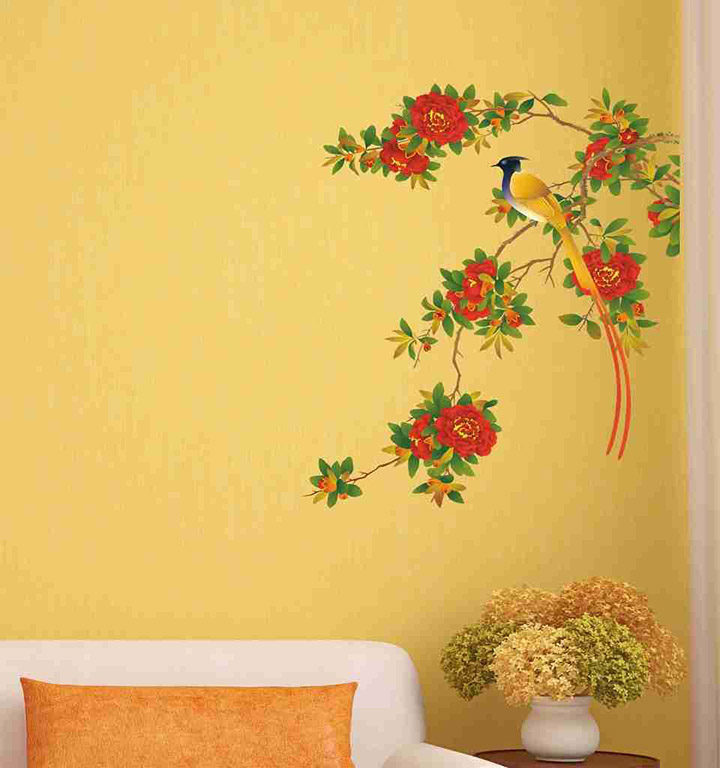 'Red Floral Branch with Bird Art' Wall Sticker