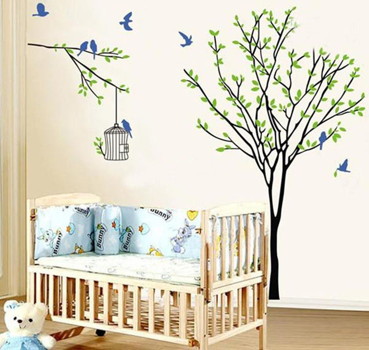 root tree birds and cage wall sticker