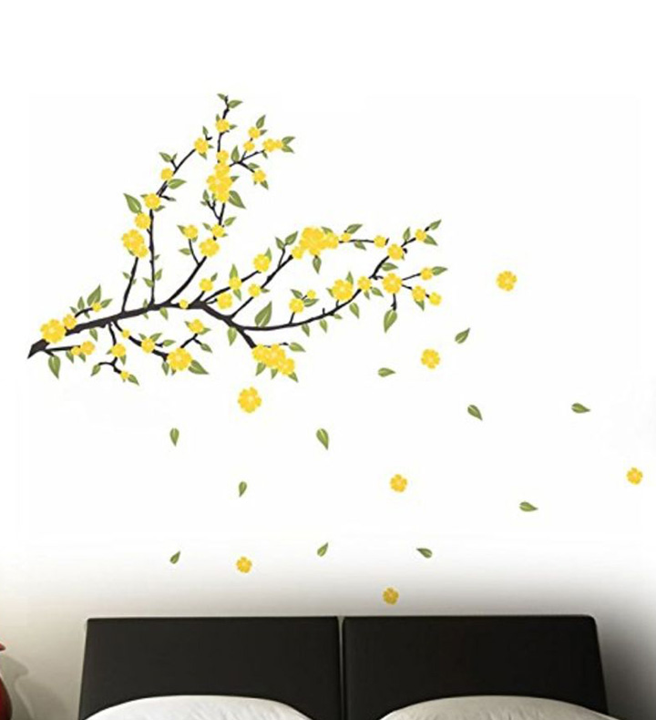 spring yellow flowers wall stickers