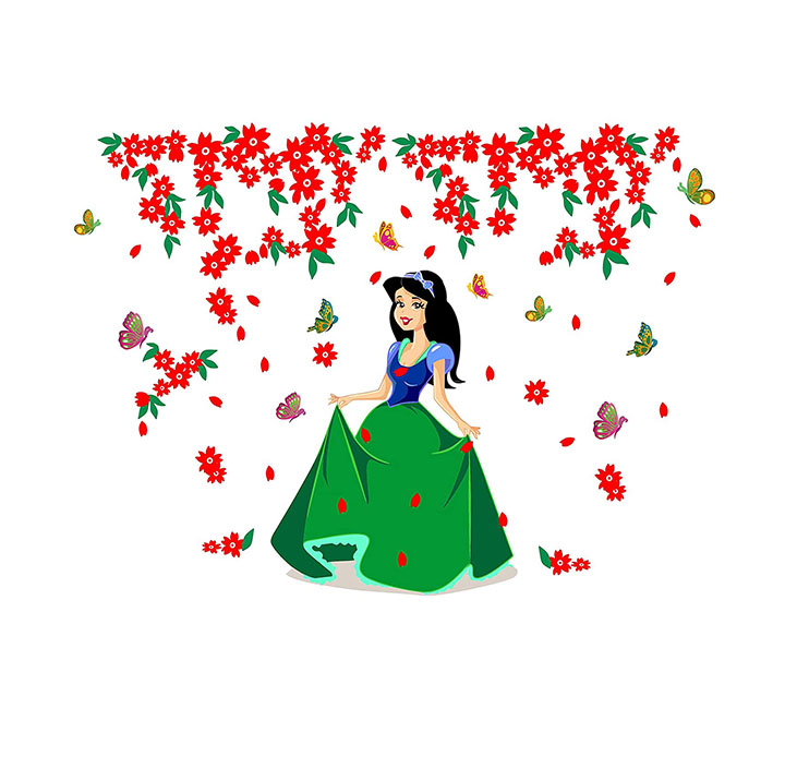 Sticker Hub Wall Sticker for Living Room -Bedroom - Office - Home Decor Beautiful Princess Wall Stickers