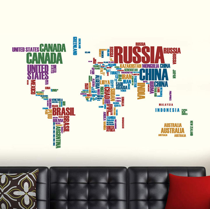 wall sticker of world map with country names
