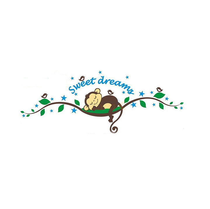 Wall Stickers of Sweet Dreams and Sleeping Monkey