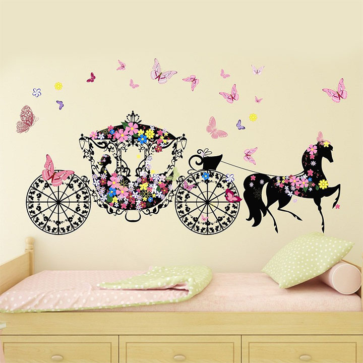 wallstick 'flower girl with horse' wall stickers
