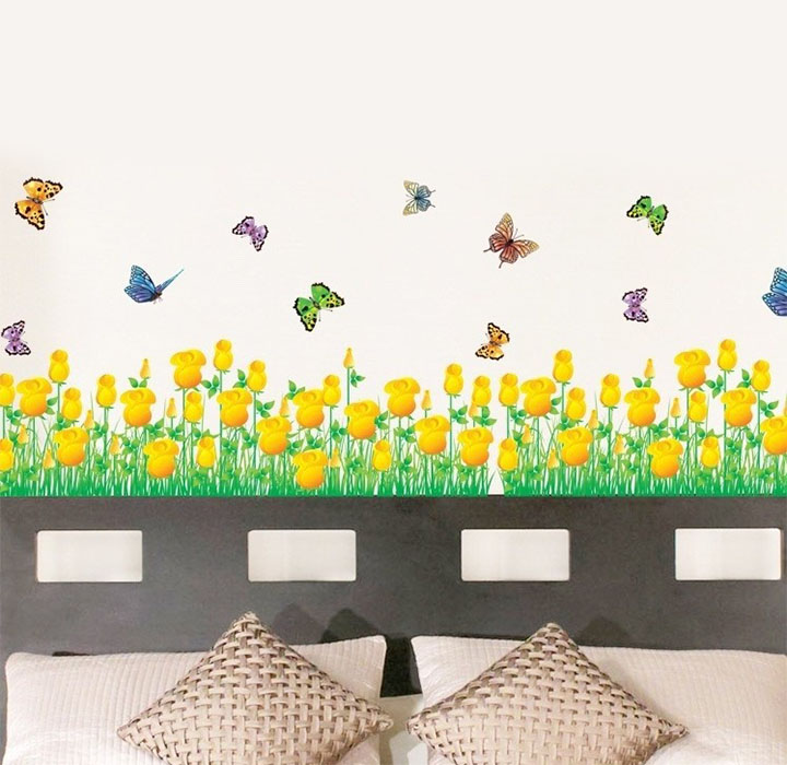yellow border floral wall stickers