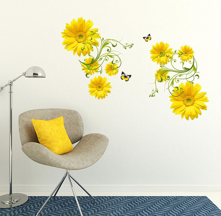 yellow daisy flower with green vine' wall stickers