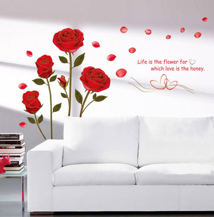 a bunch of romantic rose flowers' wall sticker