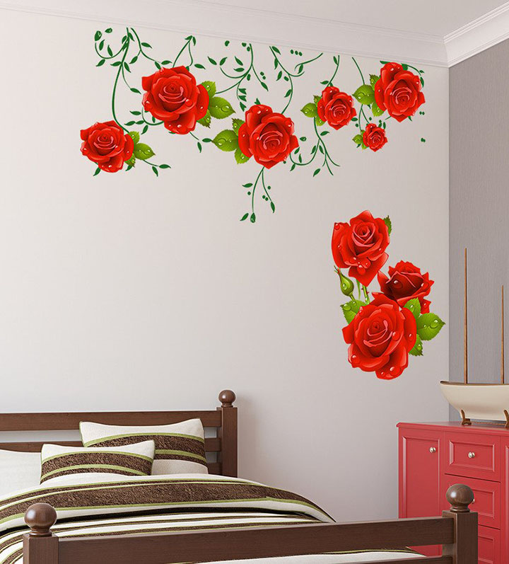 flowers and roses with green leaves wall sticker
