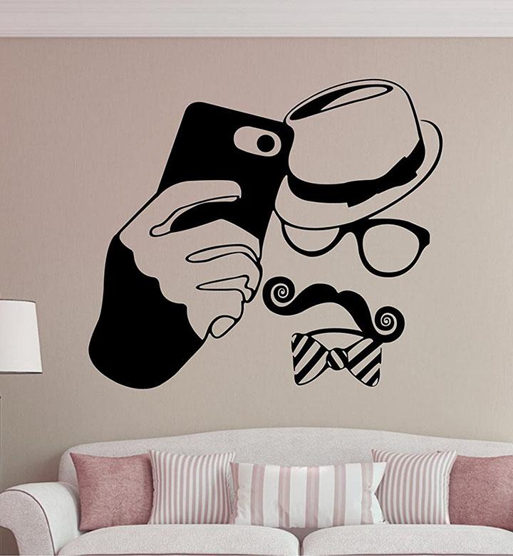 gentleman selfie funky wall sticker