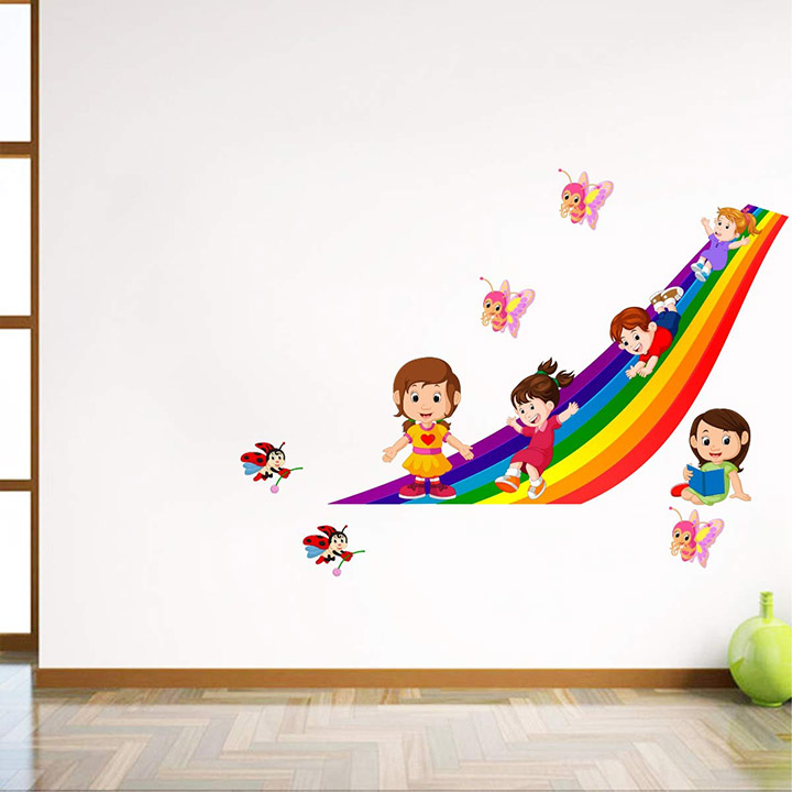 kids playing in The rainbow with butterflies wall stickers