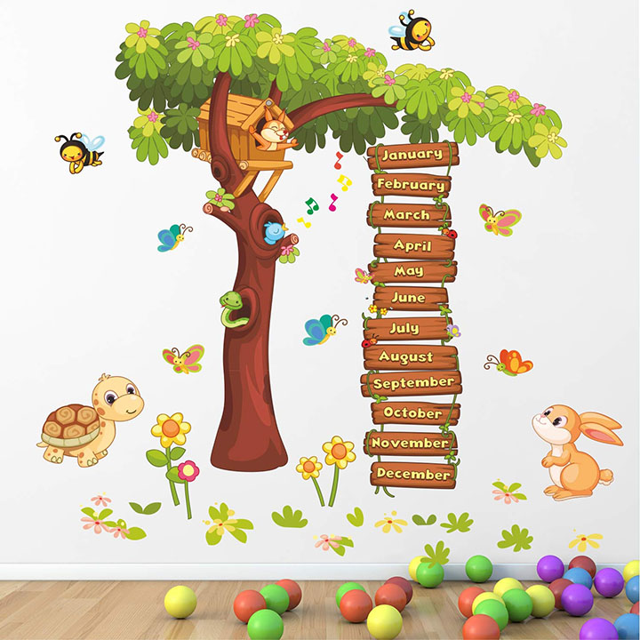 months of the year - baby - kids - learning education wall sticker