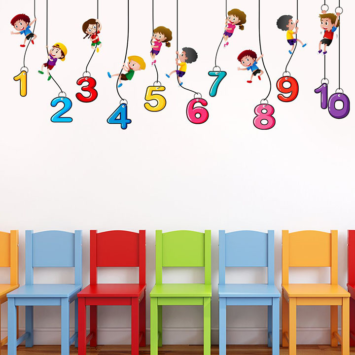 number kids wall sticker for school