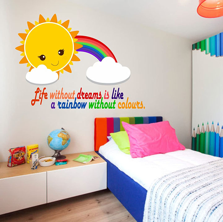 rainbow wall sticker, with a motivational quote