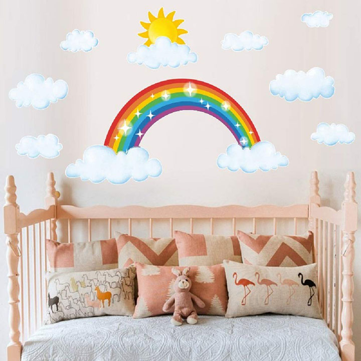 rainbow with sun and clouds wall sticker for kids room