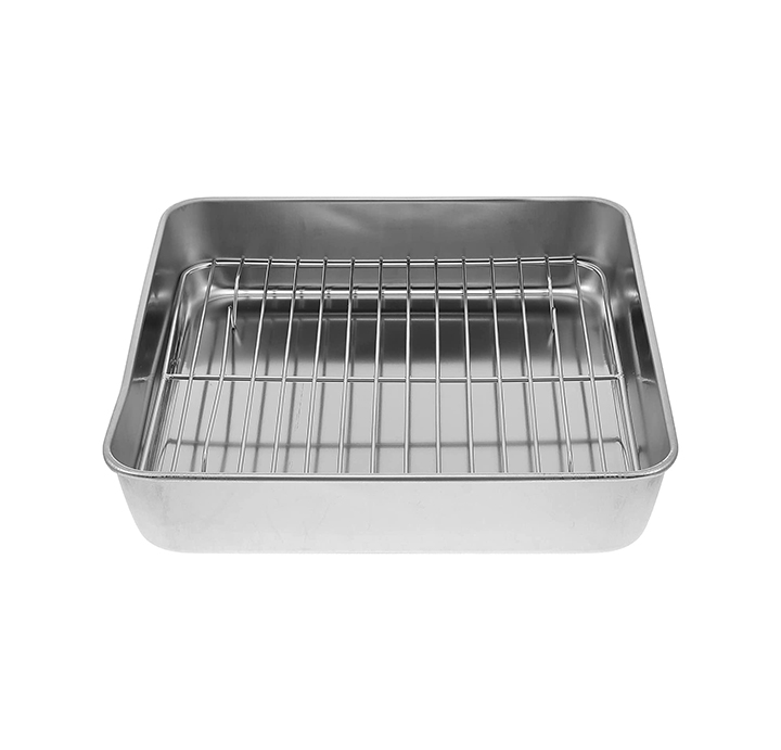beaupretty stainless steel roasting pan with rack