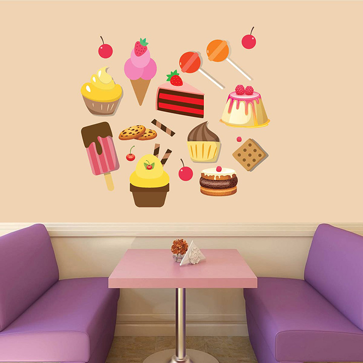 cup cakes ice cream wall stickers