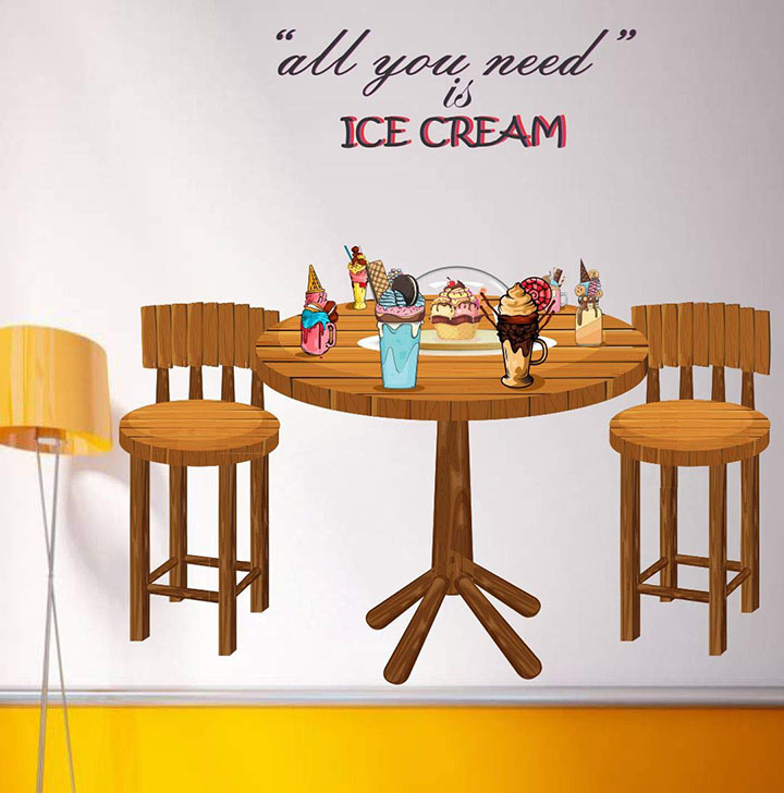 ice cream table wall stickers