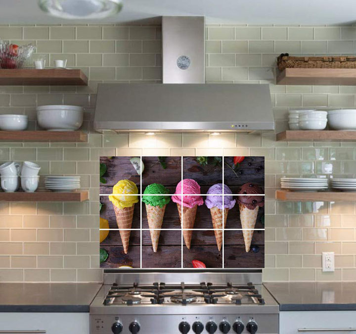softy ice cream colorful decorative wall stickers